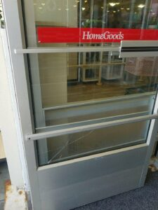 Broken Tempered Glass Door